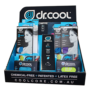 Dr Cool features award winning, chemical-free Coolcore fabric products and offers the first and only fabric ice wrap and cooling accessories.