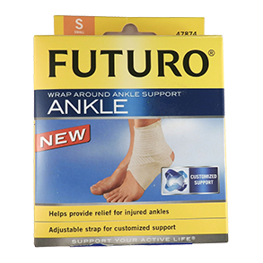 Futuro comfortable, breathable elasticated ankle straps fit in a shoe offering firm support to help relieve pain due to ankle sprains.