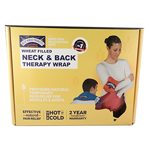 A microwave safe wheat pack with a Velcro support strap that can be used to relieve everyday aches and pains or relax muscles after exercise.